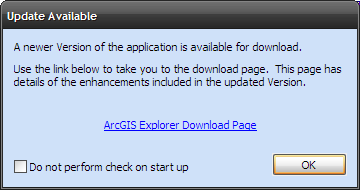 ArcGIS Explorer Update Screen