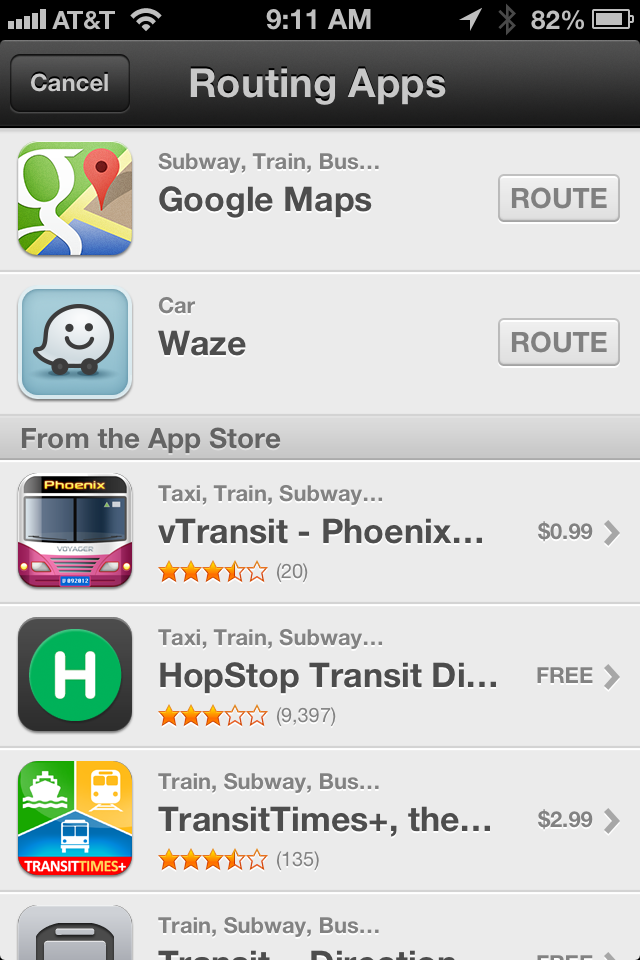 Apple Transit Options