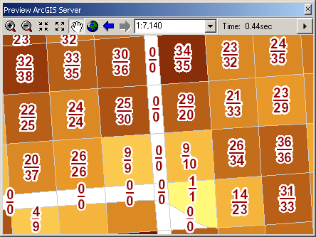 The Preview ArcGIS Server window allows users to determine the speed at which their maps are rendering.