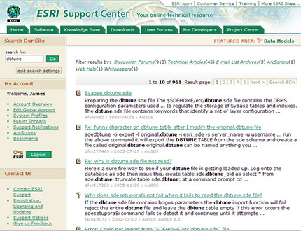 ESRI Support Search
