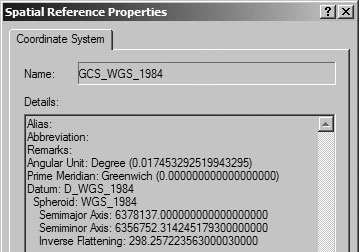 WGS84 Projection in ArcCatalog